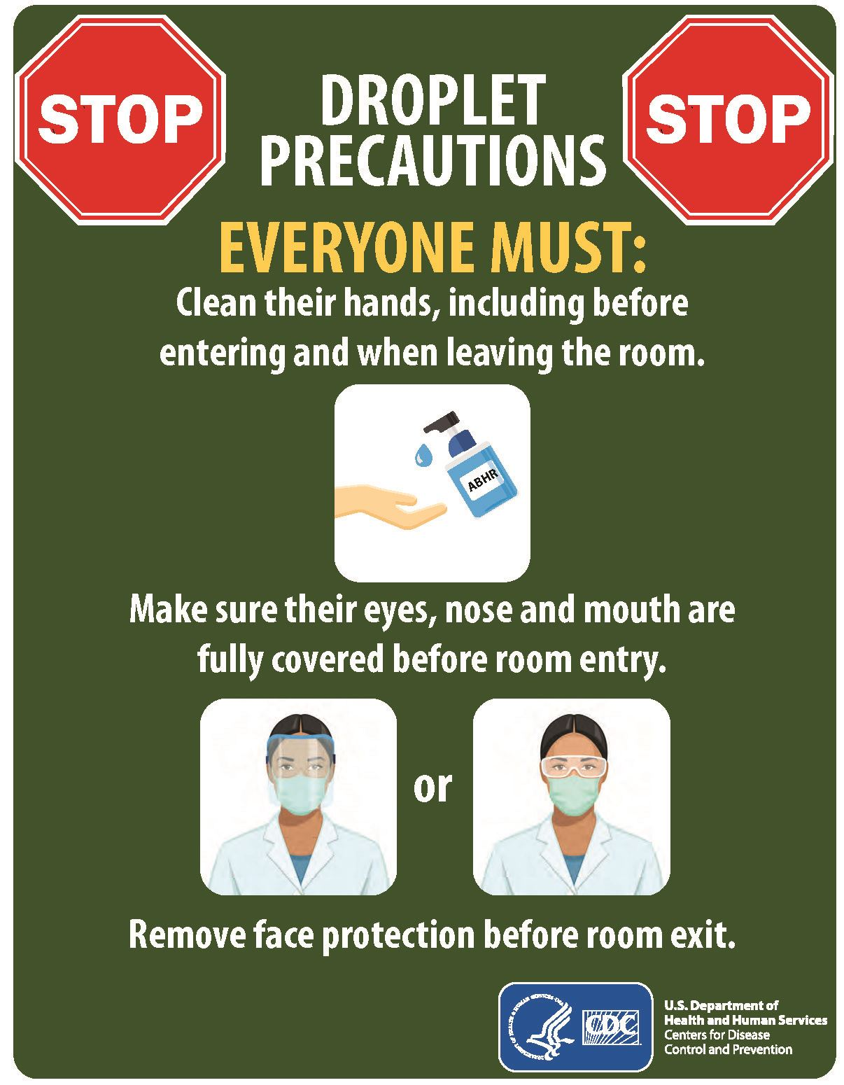Droplet Precautions – Example Sign (Print Only)
