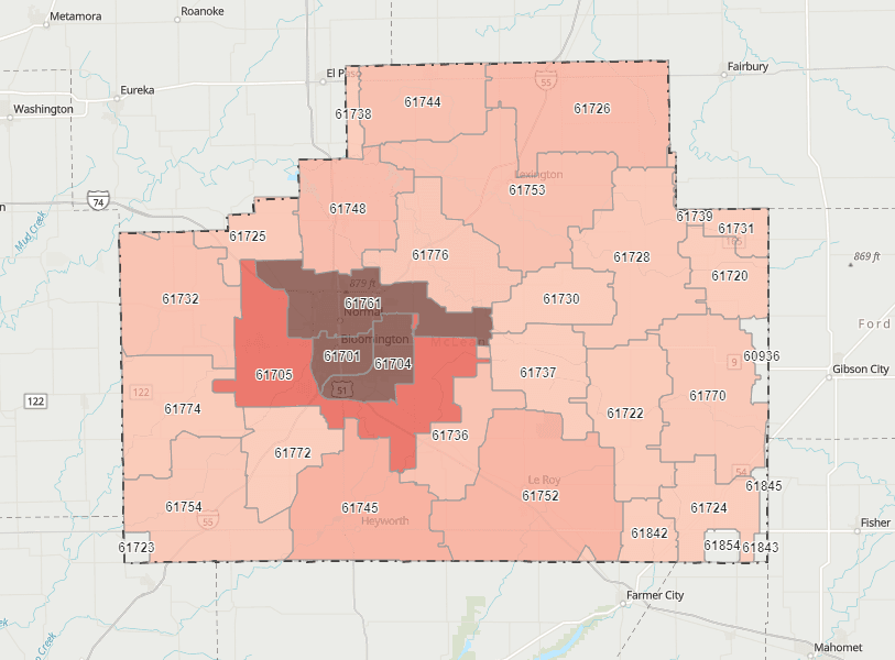 Map of COVID-19 cases by zip code. Opens in new window
